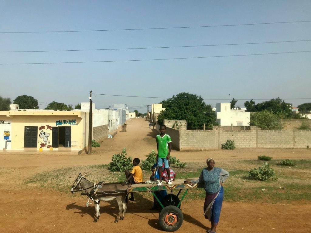Un carretto trainato da un mulo con dei bambini