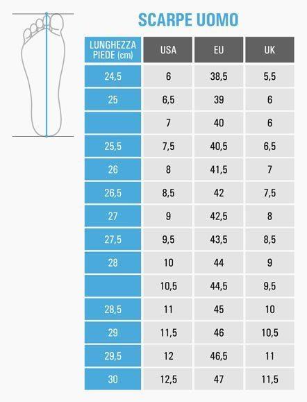 tabella misure scarpe uomo