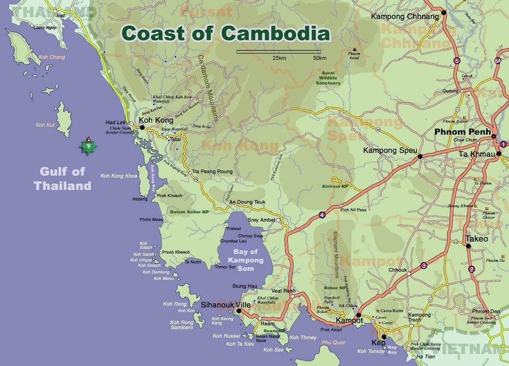 mappa cambogia mare